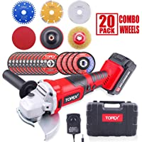 """20V 5"""" Cordless Angle Grinder w/ 3.0Ah Battery Charger & 20PCs 115mm Combo Discs"""