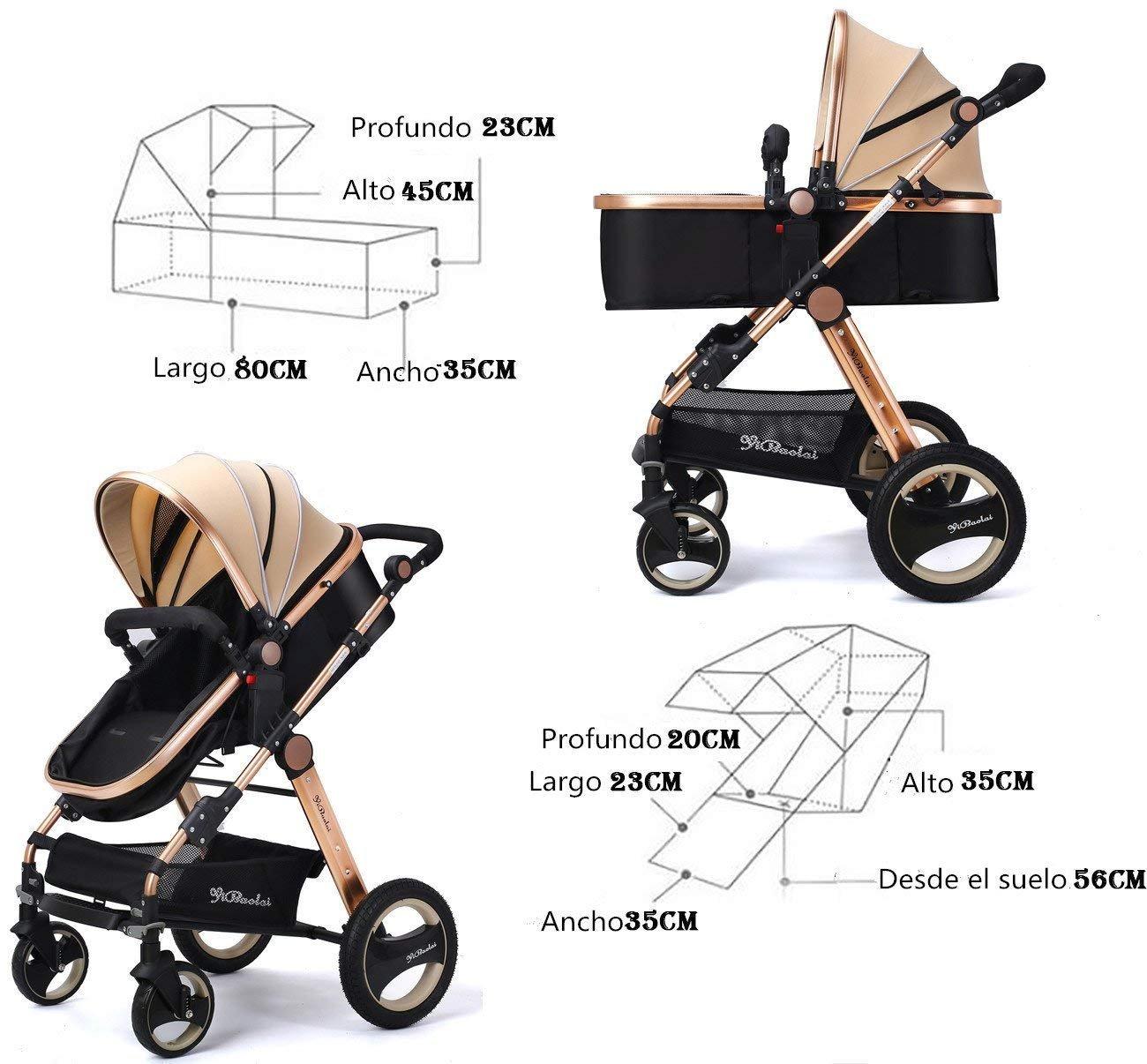 YBL High Landscape Toddlers Prams 2 in 1 Cheap from Birth Newborn Pushchairs Baby Strollers fold Two Way with Cup Holder and Meal Plate