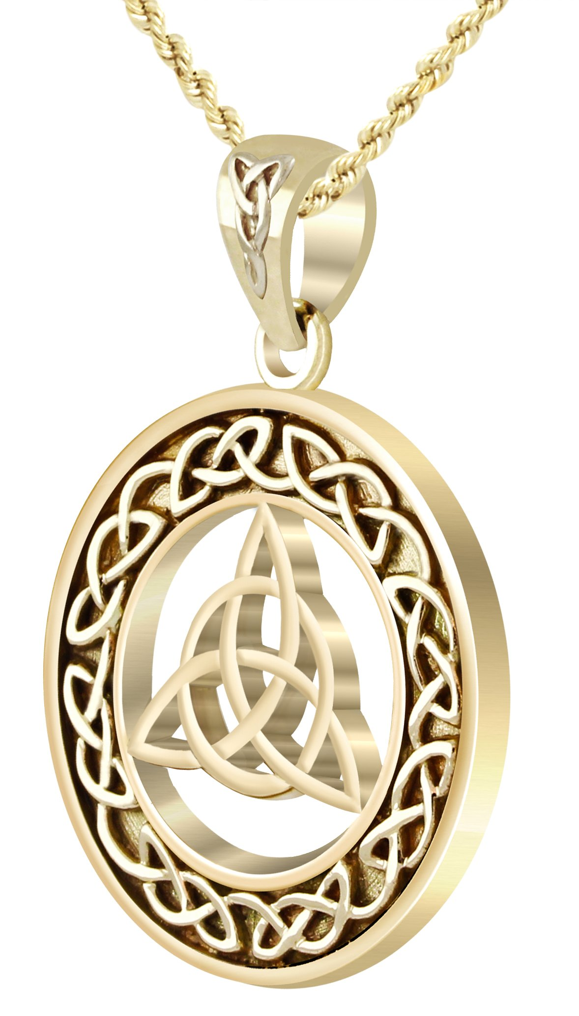 New Solid 14k Yellow Gold Irish Celtic Trinity Love Knot Pendant, 1.0mm Box Necklace, 16in
