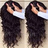 S-noilite - Peluca (encaje frontal, natural, cabello brasileño virgen, cabello humano, rizado)