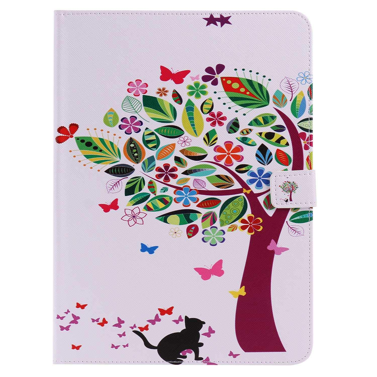 Bear Village iPad Air (9.7Inch) Case, Anti Scratch Shell with Adjust Stand, Colorful Design Leather Stand Case for Apple iPad Air (9.7Inch), Tree Cat by Bear Village