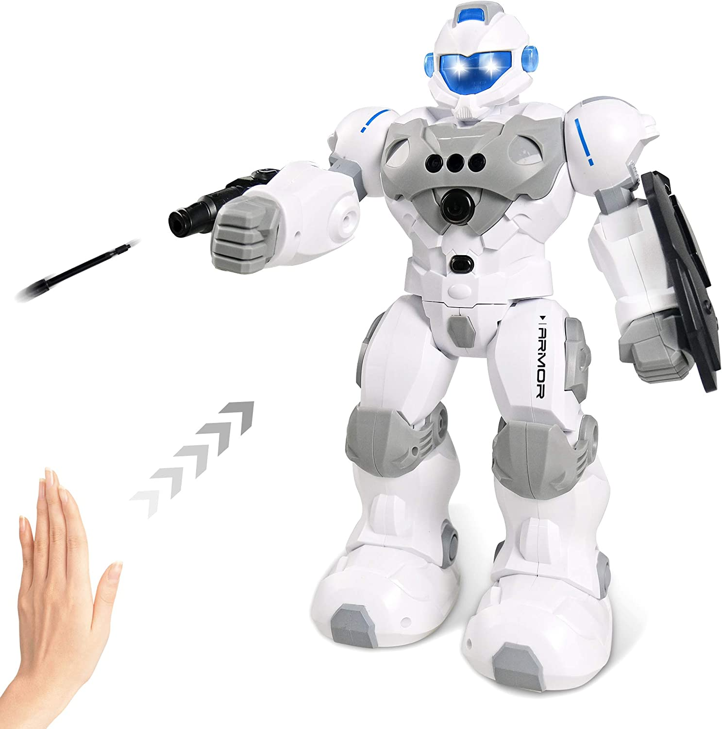 Intelligent Gesture Robot Toy, RC Robot Rechargeable with Protective Shield & Launcher, Remote Control Programmable Robotic with Interactive Singing Dancing Gesture Sensing Robot