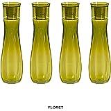 Steelo Flore Plastic Water Bottle, 1 Litre, Set of 4, Oliver Green