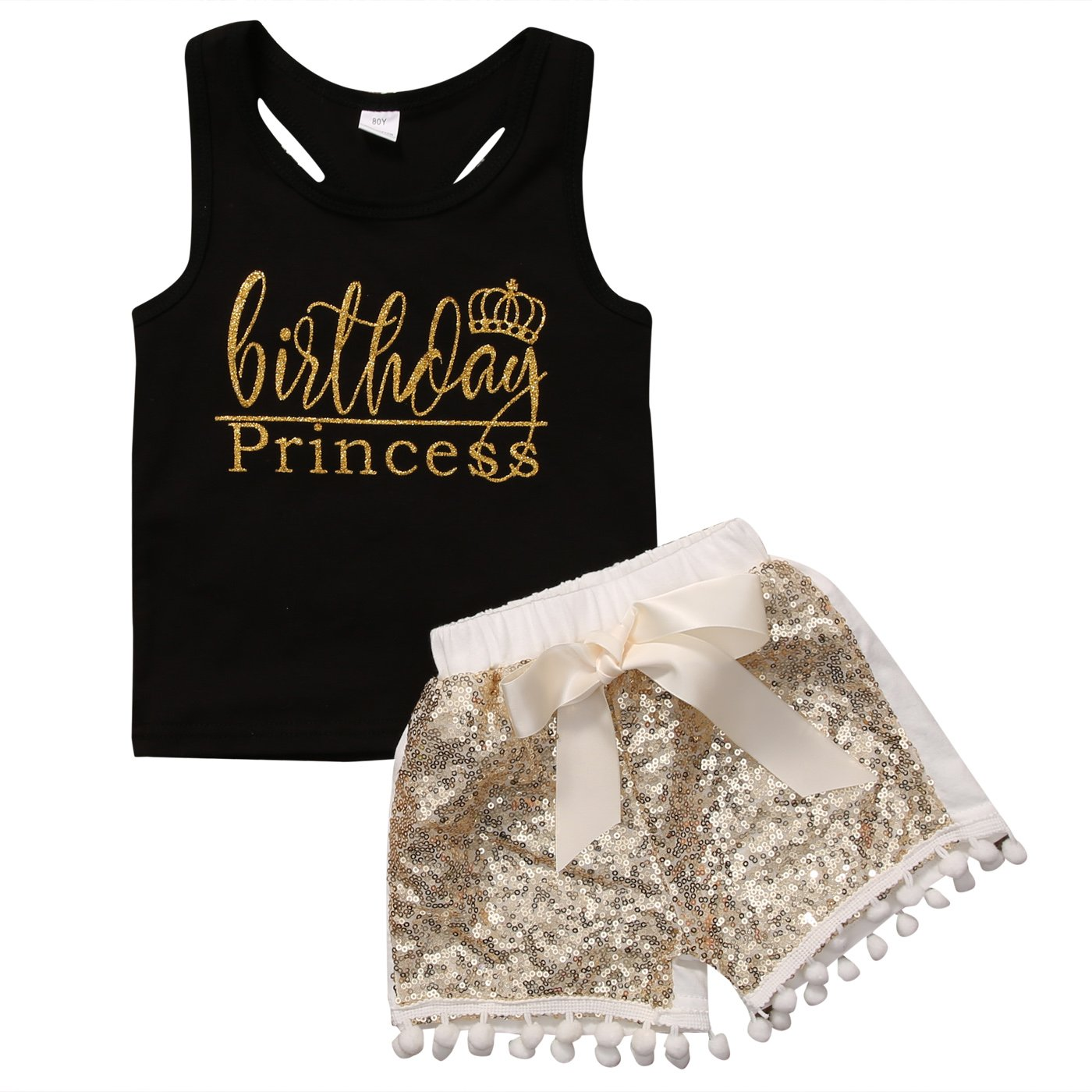 Aliven 2Pcs Toddler Baby Girl Kids Letters Tank T-Shirt Tops + Sequin Shorts Pants Clothes Outfit Set