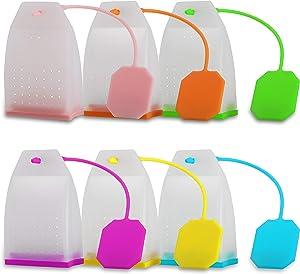 Reusable Silicone Tea Bag, Loose Leaf Small Tea Infuser Strainer Set 6 Pack By Ecurfu