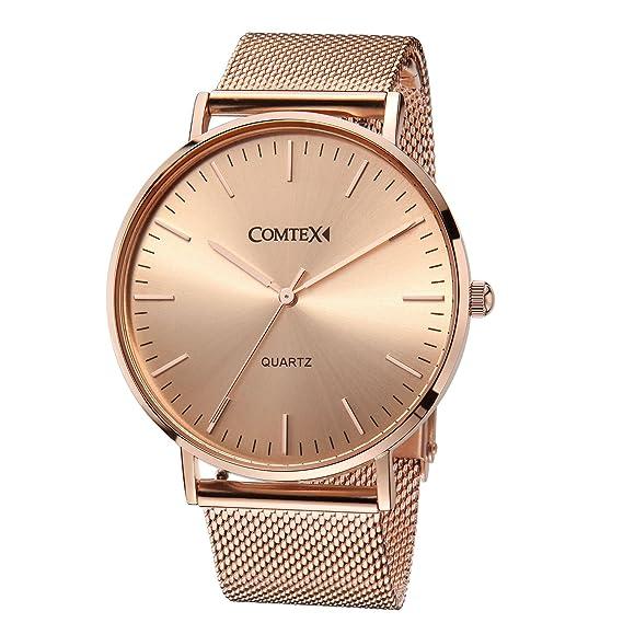 COMTEX reloj de cuarzo rosa de oro relojes con correa de malla de tono oro rosa banda Simple Casual relojes de pulsera.: Amazon.es: Relojes
