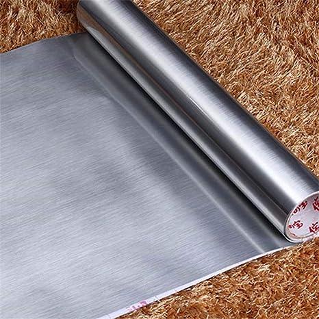 Amazon.com: Adhesivo de pared de vinilo metálico cepillado ...