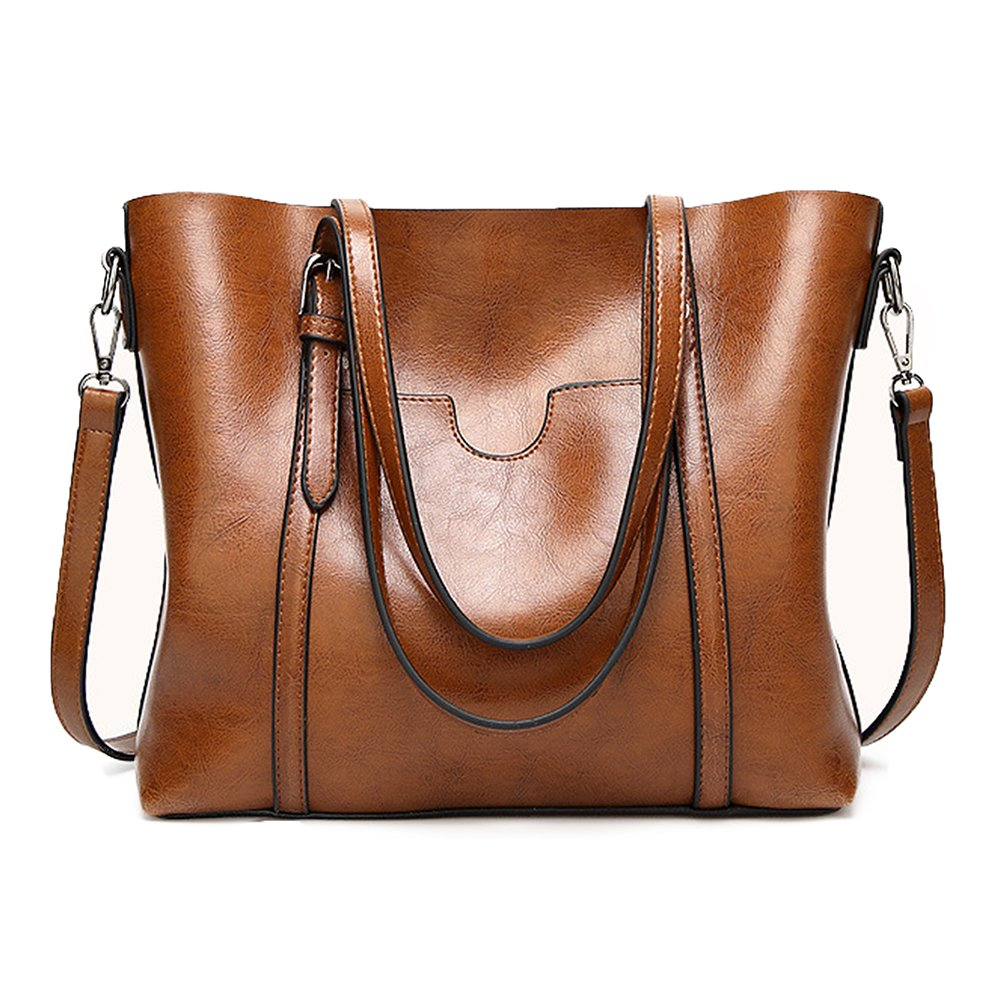 JaneRa Women's Leather Top Handle Hnadbag Satchel Daily Work Tote Shoulder Bag Large Capacity (Brown)