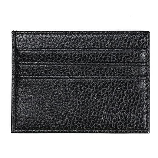 f117597de564 BleuMoo Men s Leather Small Id Credit Card Wallet Holder Slim Pocket Case  (Black)