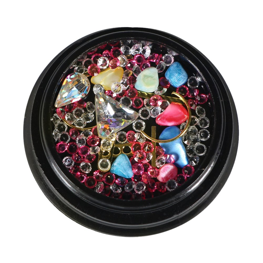 Ochine Nail Rhinestones Colorful Crystal Mixed Size Nail Studs Manicure Nail Art Decorations Beads Jewelry Dimond Sticker