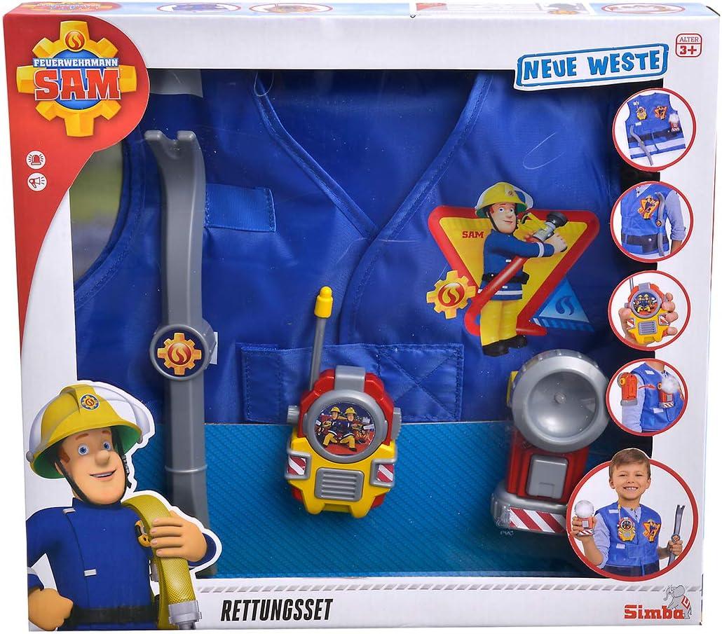 Simba Sam Feuerwehrmann Rettungsset mit Feuerwehrhelm Feuerwehr Weste Einsatzset