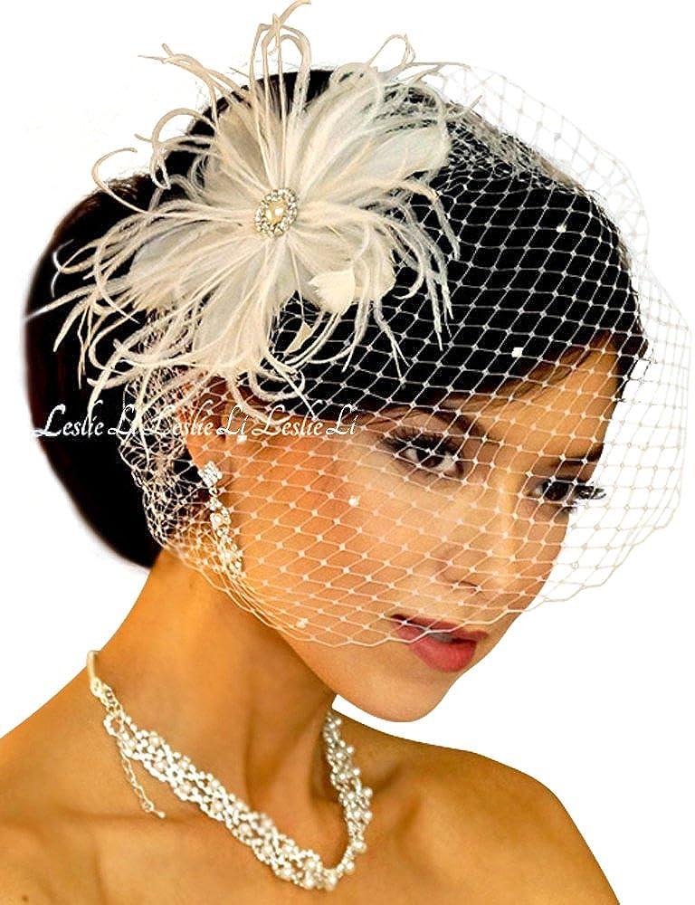 Wedding Ivory Feather Fascinator Flower Pearl Hair Barrette Bird Cage Veil Clip