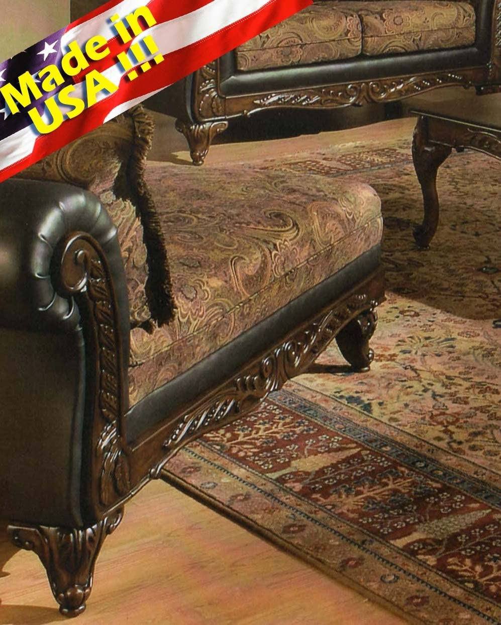Roundhill Furniture San Marino 2-Tone Fabric Chaise