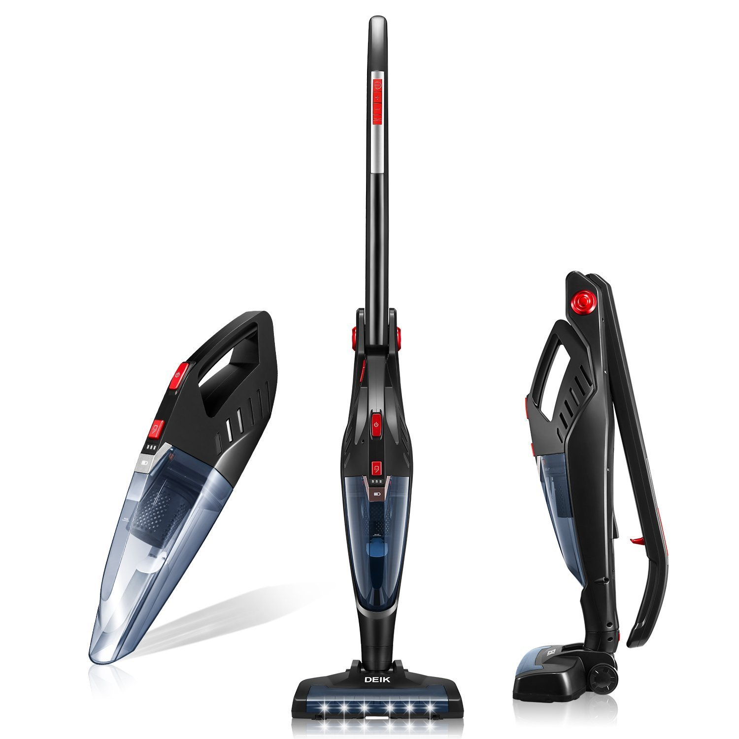 Deik Cordless Vacuum Cleaner, 2 in 1 Vacuum Cleaner with HEPA Filter, 8000PA Lightweight Rechargeable Bagless Stick and Handheld Vacuum with Upright Charging Base and LED Headlight for pet hair, Black