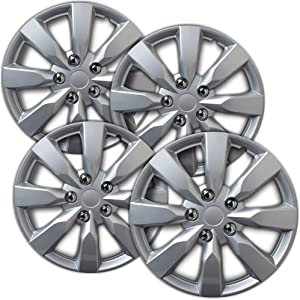 OxGord Hubcaps 16 inch Wheel Covers - (Set of 4) Hub Caps for 16in Wheels Rim Cover - Car Accessories Silver Hubcap Best for 16inch Standard Steel Rims - Snap On Auto Tire Replacement Exterior Cap