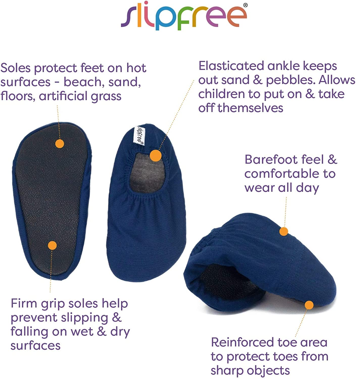 Boys Non-Slip UPF50+ Barefoot Swim Slipfree Pool and Home Navy Extra Small Water Shoes for Beach