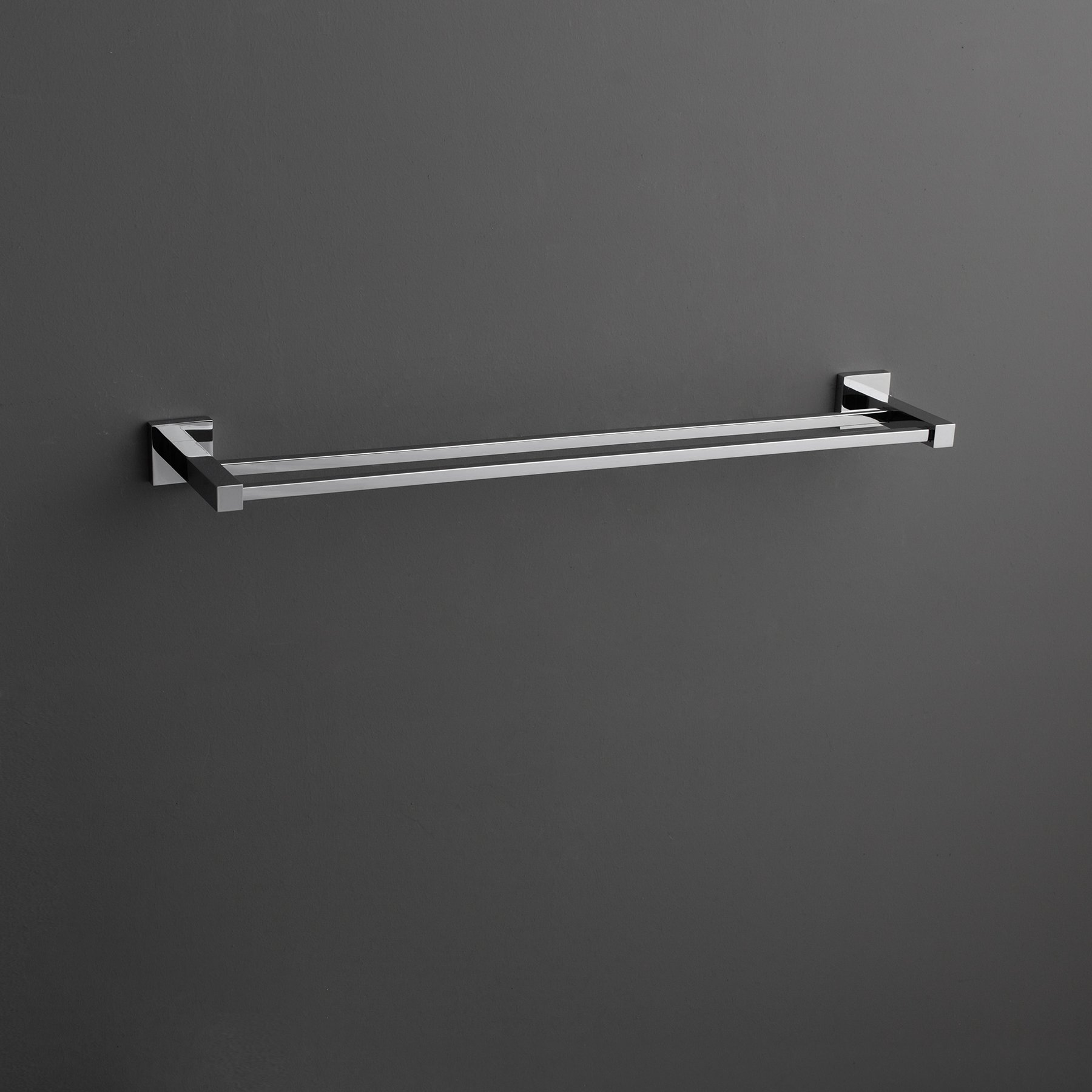 MAYKKE Zane 25'' Stainless Steel Double Towel Bar | Modern Wall Mounted Towel Holder for Bathroom, Kitchen, Shower | Polished Chrome, XYA1000901 by Maykke (Image #2)