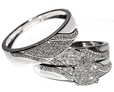 8557683b9914d Image Unavailable. Image not available for. Color  10K White Gold Genuine Diamond  Trio Wedding Set ...