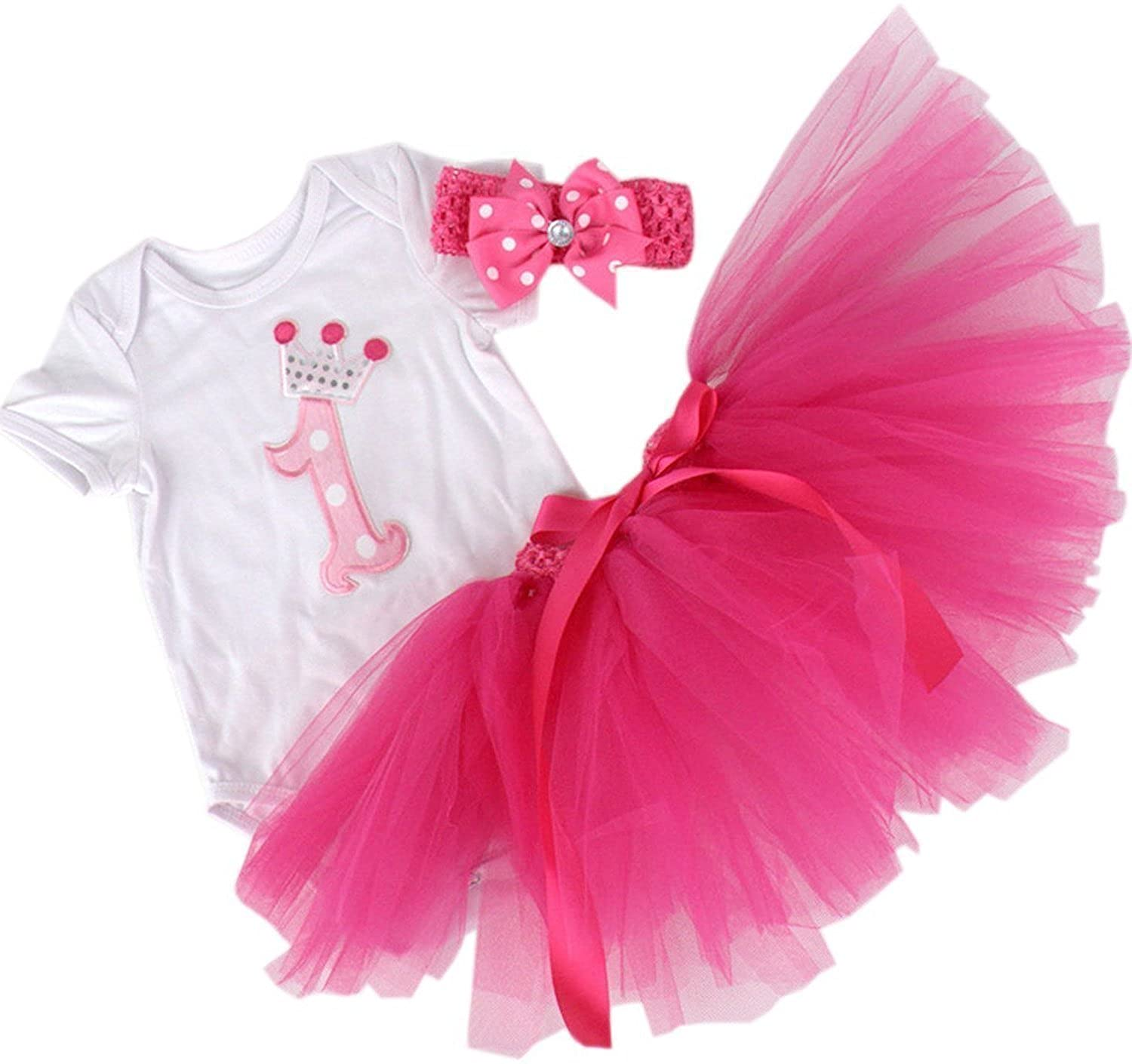BabyPreg Baby Girls 3PCs 1st Birthday esie Tutu Dress Headband