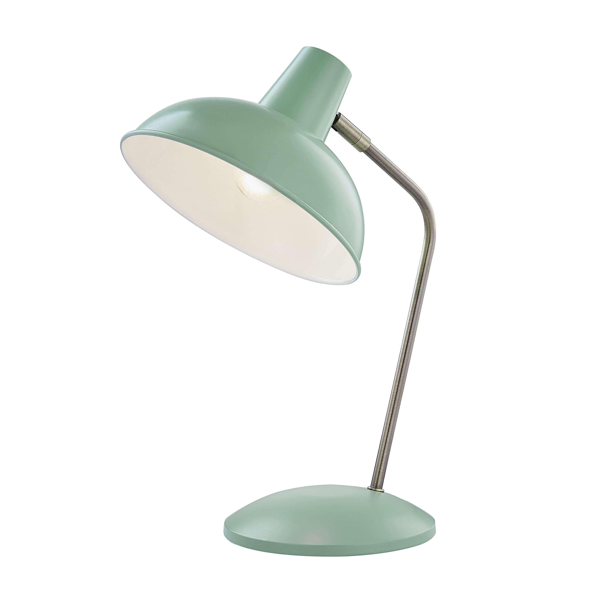 Light Society LS-T261-MG Hylight Mint Green Retro Desk Lamp with Antique Brass Details, Mid Century Modern Vintage Style