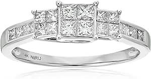 La4ve Diamonds 1 Carat Diamond, Invisible Set 14K Gold Solitaire Princess-Cut Diamond Engagement Wedding Ring for Women Girls (I-J, I1-I2) Real Diamond Fine Jewelry Gift Box Included