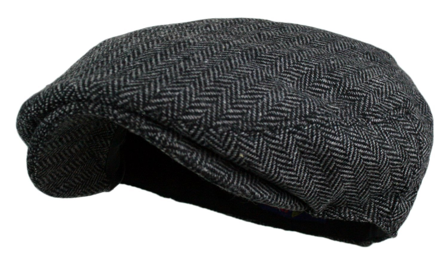 Wonderful Fashion Men's Herringbone Tweed Wool Blend Snap Front Newsboy Hat (DK.Grey, LXL)