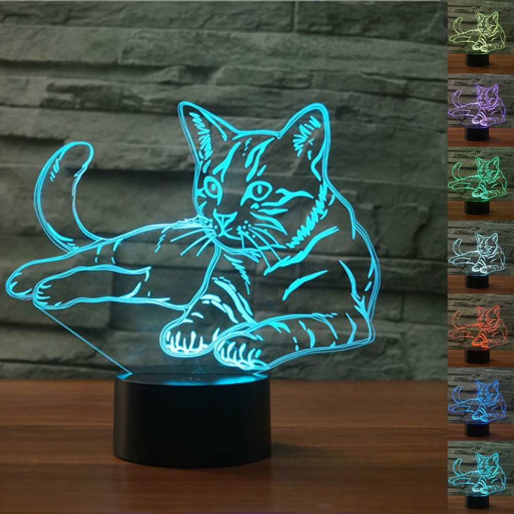 Jinnwell 3D Cat Night Light Lamp Optical Illusion Animal Night Light 7 Color Changing Touch Switch Table Desk Decoration Lamps Perfect Christmas Gift with Acrylic Flat ABS Base USB Cable Toy (cat)