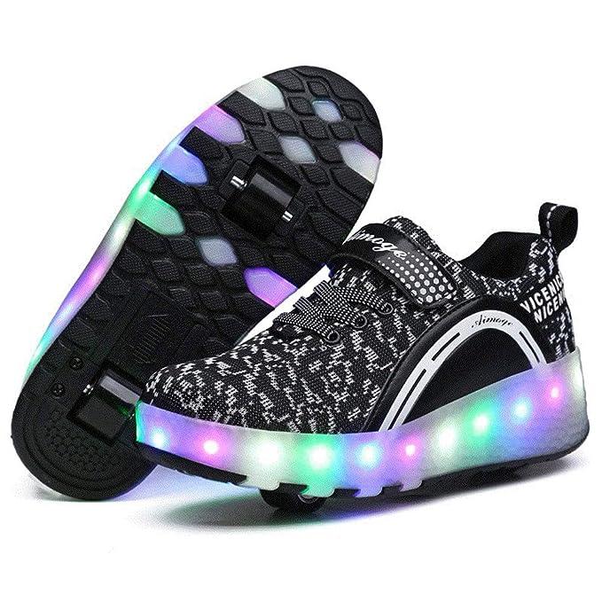 Flower-Ager Zapatillas con Ruedas,Unisex Niños LED Luz Parpadea Deportes al Aire Libre Skateboard Sneaker Automáticamente Retráctiles Zapatos de Roller para ...