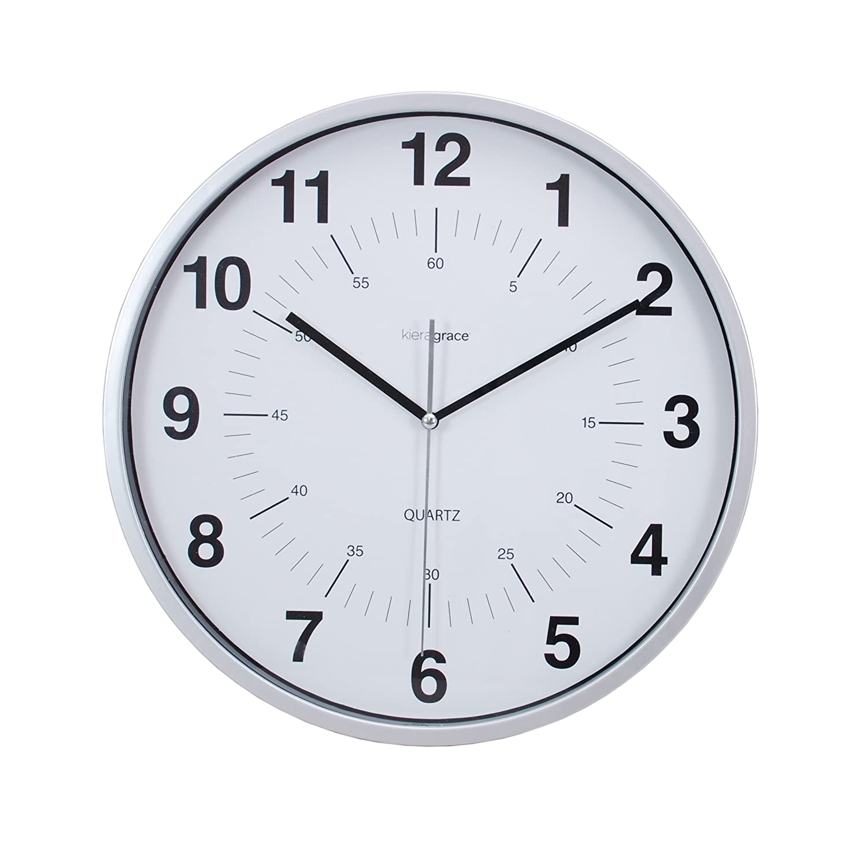 amazoncom kiera grace synchro silent wall clock 12 inch 34 inch deep silver home u0026 kitchen