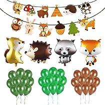 Decoraciones Forestales (36 Piezas) - Decoraciones Animales Del Bosque Partido Globos, Guirnaldas De Papel Para Las Decoraciones De La Fiesta De ...