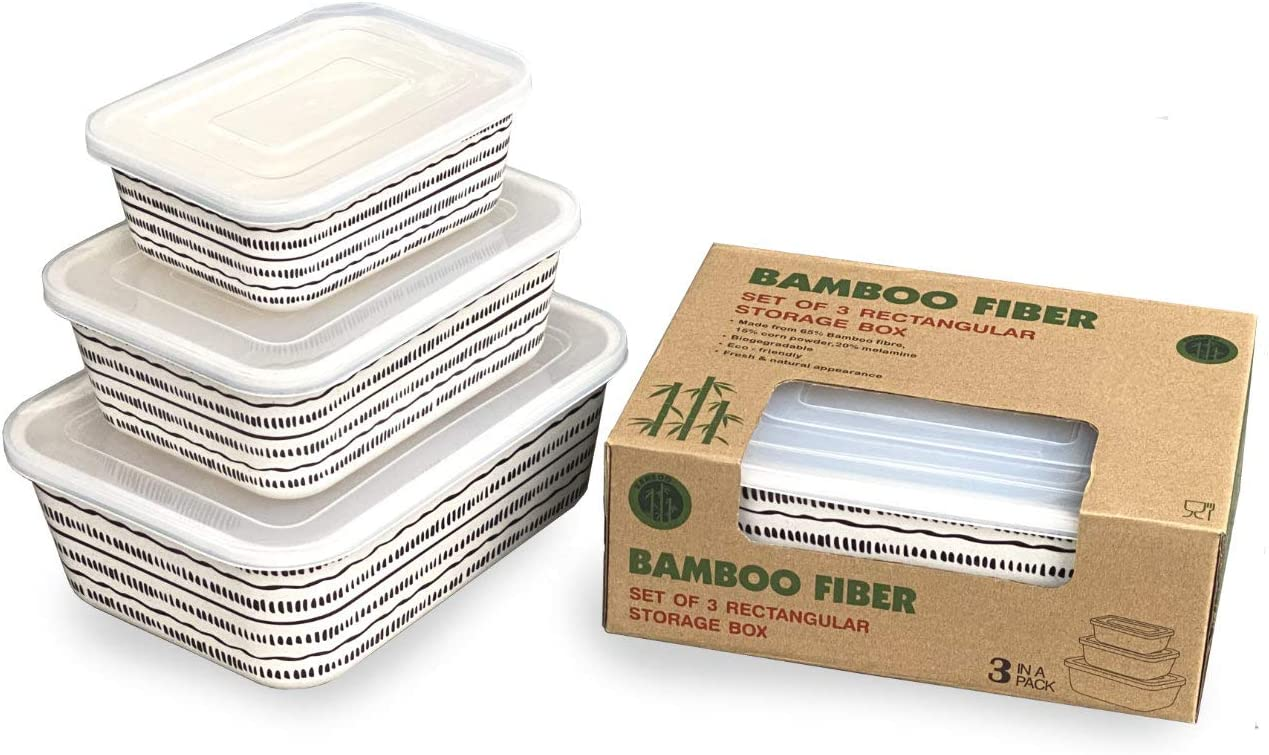 Bamboo Fiber Kitchen Storage Containers Set of 3 (Dashes)