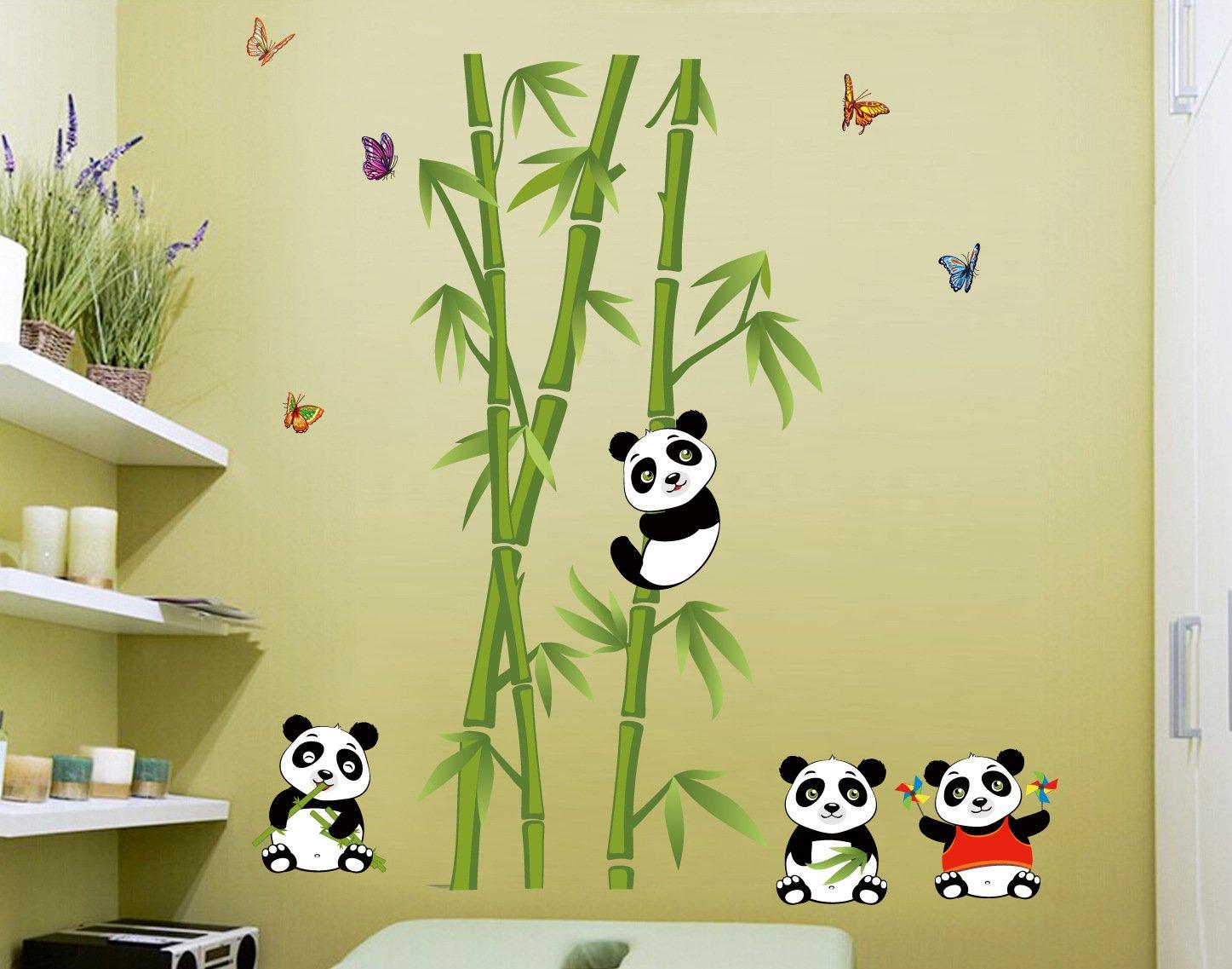 Amazon.com: Let\'S Diy New Cute Panda Bamboo Wall Stickers Home Decor ...