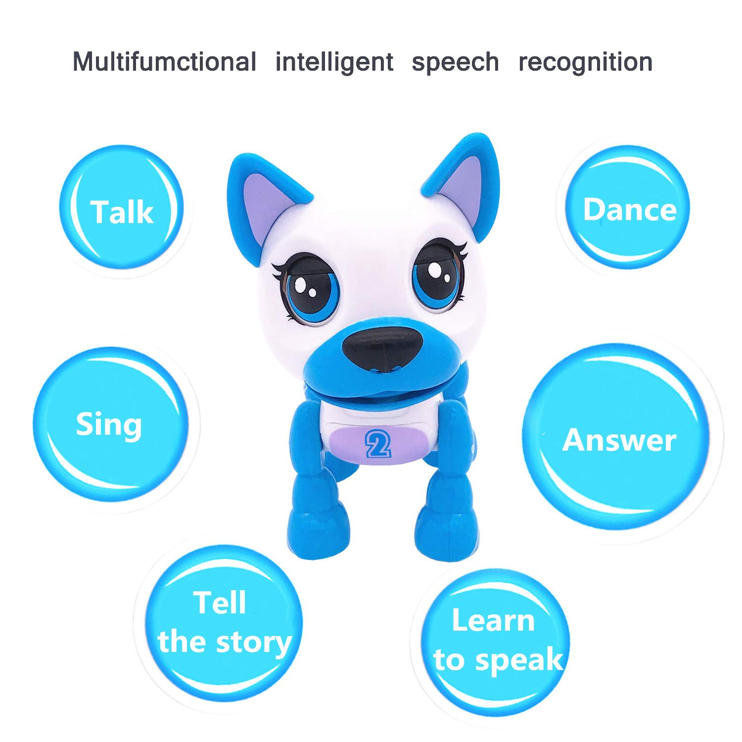 SoundOriginal Electronic Intelligent Pocket Pet Dog Interactive Puppy - Robot Dog Popular Toys Smart Pet Toy for Age 3 4 5 6 7 8 9 10 Year Old Boys Girls and Kids Gifts, Speech Recognition Dog (white) by SoundOriginal (Image #3)