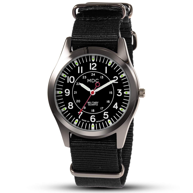 MDC Mens Military Field Analog Quartz Wrist Watches 12 24 Hr NATO Strap