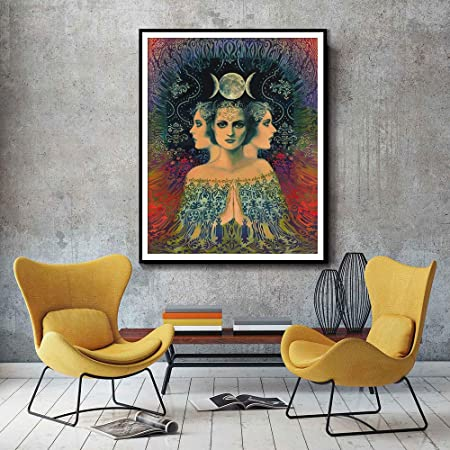 RTCKF Lámina Psychedelic Moon Goddess Home Pintura al óleo ...