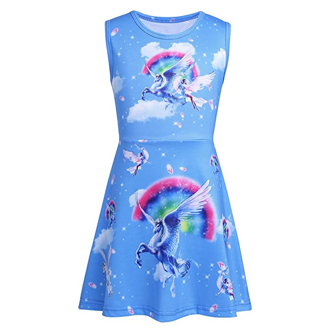 Freebily Vestido Niña, Vestidos de Princesa Unicornio Vestido de Verano para Bebe Niña Cumpleaños Azul