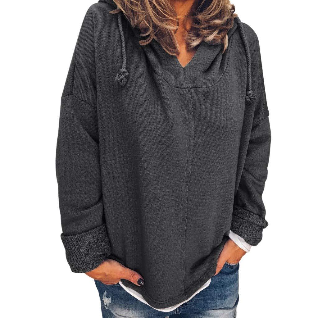 Exteren Women Plus Size Sweatshirt Pullover Long Sleeve Tops Blouse Hooded Sweater Gray