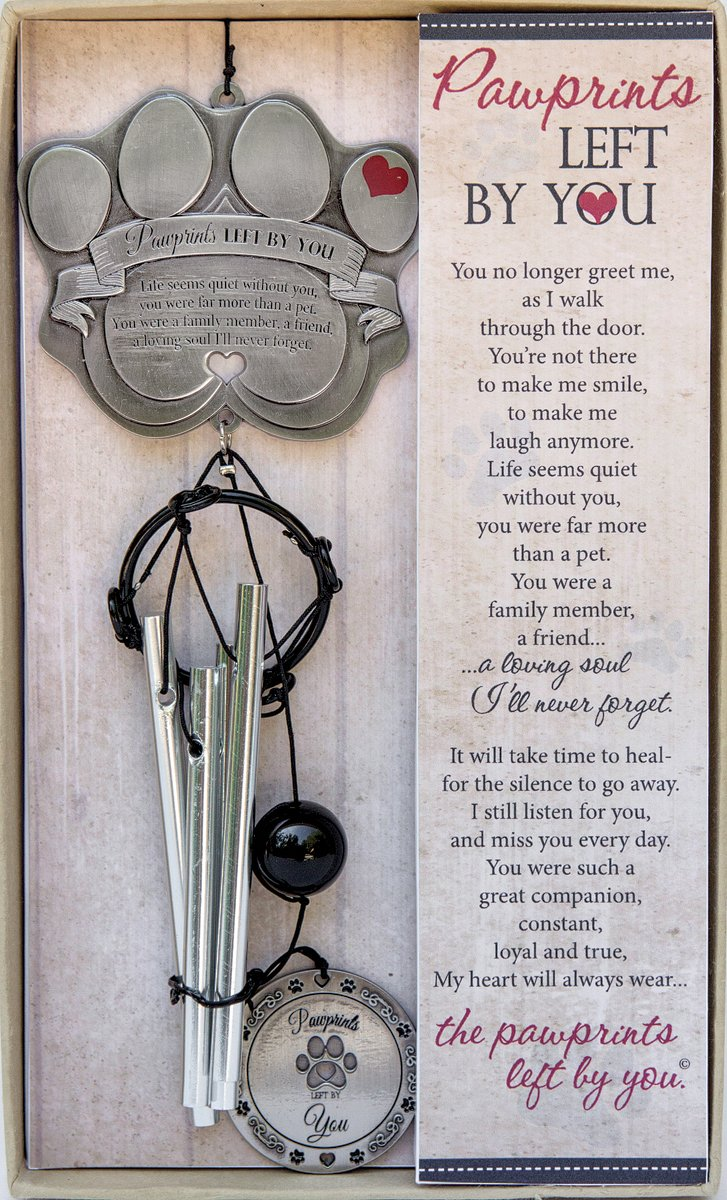 """Pet Memorial Wind Chime - 13 5"""" Metal Casted Pawprint Wind Chime - A  Beautiful Remembrance Gift For a Grieving Pet Owner - Includes """"Pawprints  Left By"""