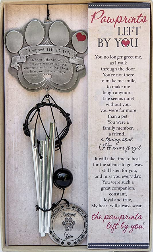 """Pet Memorial Wind Chime - 13 5"""" Metal Casted Pawprint Wind Chime - A  Beautiful Remembrance Gift For a Grieving Pet Owner - Includes """"Pawprints"""