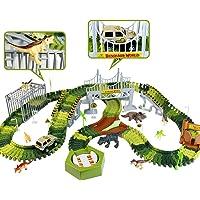 Pista de Coches para Niños Dinosaurios Juguetes - Flexible Circuito Coches Niños 213 Piezas Pista Juguetes Niños 3 4 5 6…