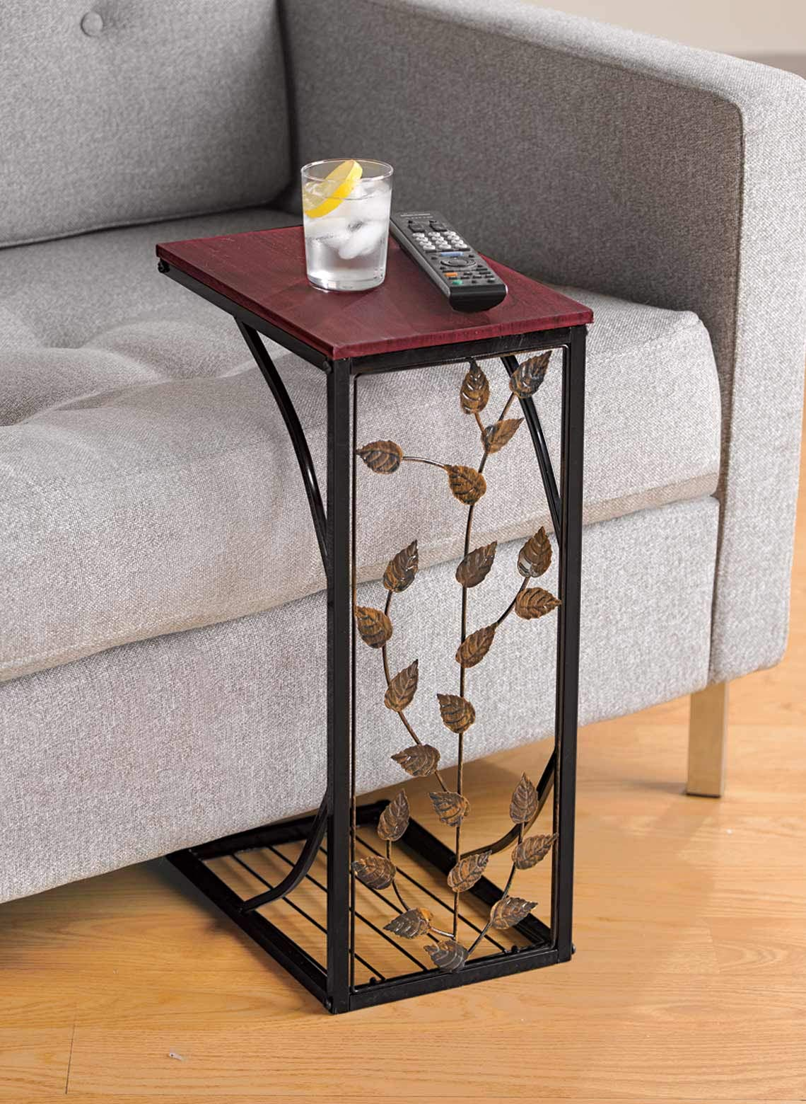 Sofa Side and End Table, Small - Metal, Dark Brown Wood Top With Leaf Design - Perfect for Your Living Room, Slides Up To Sofa / Chair / Recliner - Keep Snacks, Drinks Books & Phone At Easy Reach by Carol Wright Gifts