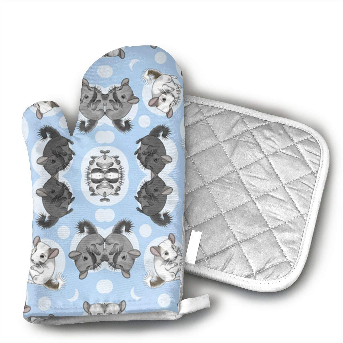 YUBZMD Small Blue Chinchillas and Moon Oven Mitts and hot Pot mat for Cooking Grill
