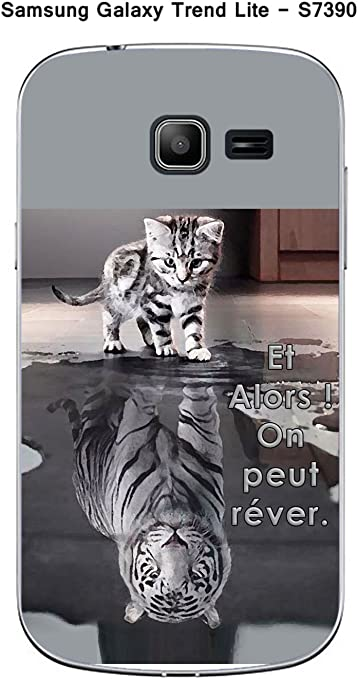 Onozo Coque Samsung Galaxy Trend Lite S7390 Design Chat Tigre Blanc Et Alors !