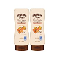 Hawaiian Tropic SPF 50 Broad Spectrum Sunscreen, Sheer Touch Moisturizing Protection Sunscreen Lotion, Coconut, 16.0 Fl Oz (Pack of 2)