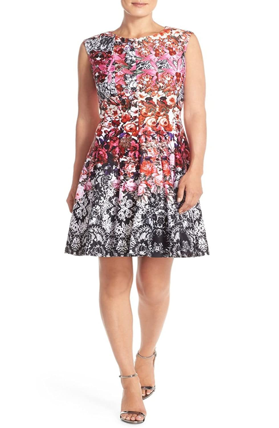 Julian Taylor Womens Plus Size All Over Floral Printed Fit and Flare Dress