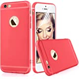 iPhone 6s Red Case Cover - Aksuo Bumper Protective Back Matte TPU Soft Rubber Silicone Cover Phone Case and Nano Anti-scratch Skin Flim Screen Protector for Apple iPhone6 4.7 inch