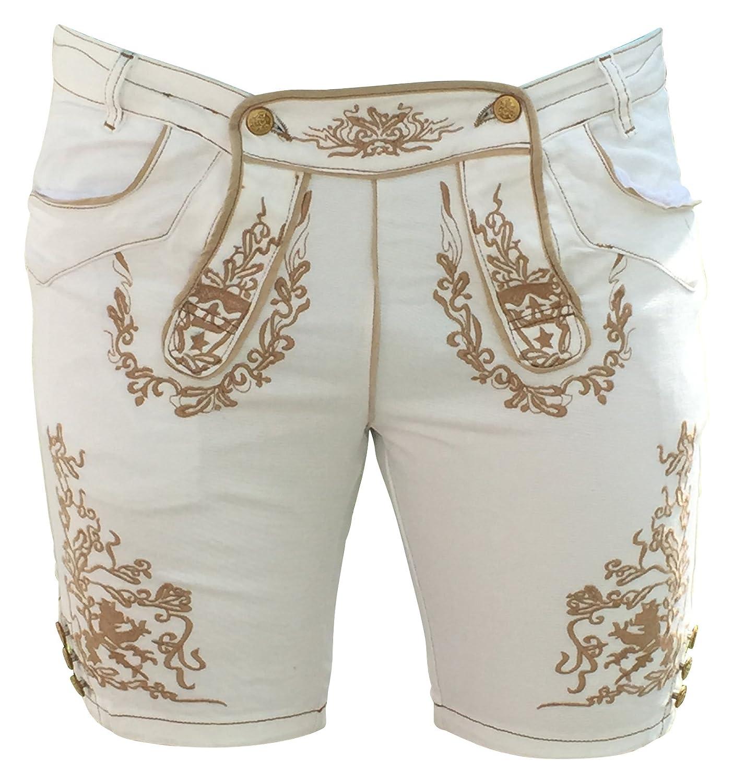 Trachtenhosen Hosen Herren Jeans Weiß Lederhosenoptik Bermuda Baumwolle