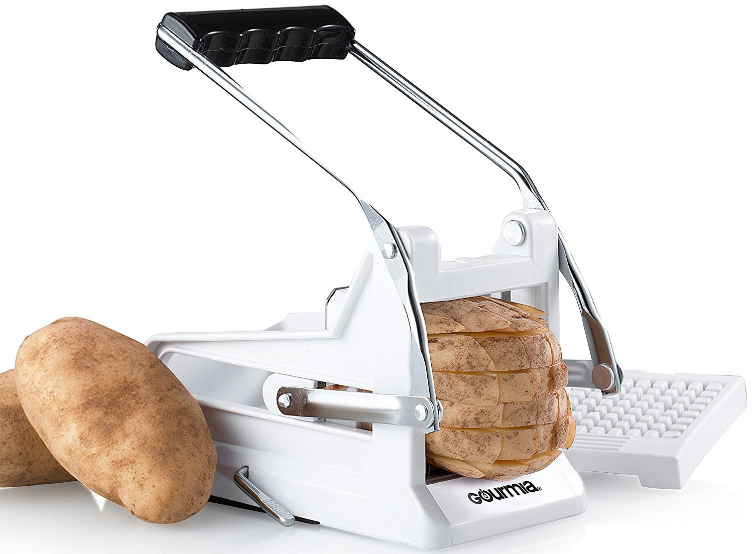 Gourmia GCU9245 French Fry Cutter Professional Potato Slicer With 2 Interchangeable Blades Also Use for Vegetables Like Cucumber, Carrot & More,White