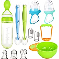 Baby Food Feeder Set, TYTA Fruit Feeders 2Pcs with 3 Size Silicone Pouches,1 Baby Food Dispensing Spoon, 2 Baby Finger…