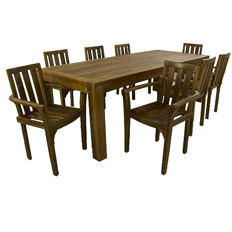 Conjunto de jardín de Madera Teca | Mesa de 240 cm de Largo y 8 sillones apilables | Madera Teca Grado A | Tratamiento al Agua aplicado | Portes ...